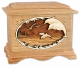 Dolphins with 3D Inlay Oak Wood Cremation Urn