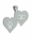 Double Heart Buddies 3D Pet Paw Print / Nose Print Sterling Silver Memorial Pendant