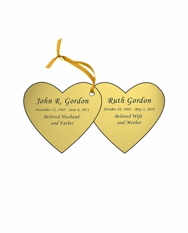 Double Heart Double-Sided Memorial Ornament - Engraved - Gold