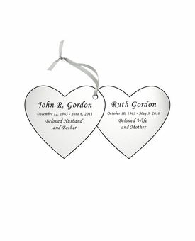 Double Heart Double-Sided Memorial Ornament - Engraved - Silver