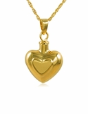 Double Heart Gold Vermeil Cremation Jewelry Pendant Necklace