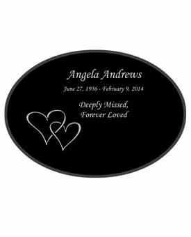 Double Heart Laser-Engraved Oval Plaque Black Granite Memorial
