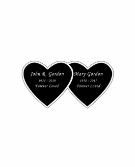 Double Heart Nameplate - Engraved Black and Silver - 2-3/4  x  1-3/8