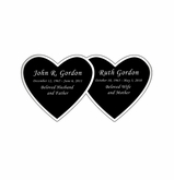 Double Heart Nameplate - Engraved Black and Silver - 3-1/2  x  1-3/4
