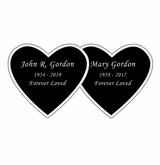 Double Heart Nameplate - Engraved Black and Silver - 4-1/4  x  2-1/8