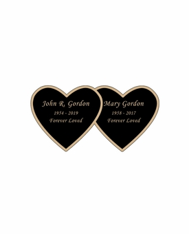 Double Heart Nameplate - Engraved Black and Tan - 2-3/4  x  1-3/8