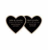 Double Heart Nameplate - Engraved Black and Tan - 3-1/2  x  1-3/4