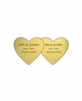 Double Heart Nameplate - Engraved - Gold - 2-3/4  x  1-3/8