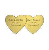 Double Heart Nameplate - Engraved - Gold - 3-1/2  x  1-3/4
