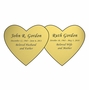 Double Heart Nameplate - Engraved - Gold - 4-1/4  x  2-1/8