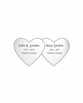 Double Heart Nameplate - Engraved - Silver - 2-3/4  x  1-3/8