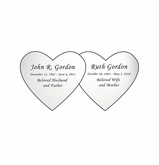 Double Heart Nameplate - Engraved - Silver - 3-1/2  x  1-3/4
