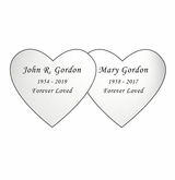 Double Heart Nameplate - Engraved - Silver - 4-1/4  x  2-1/8