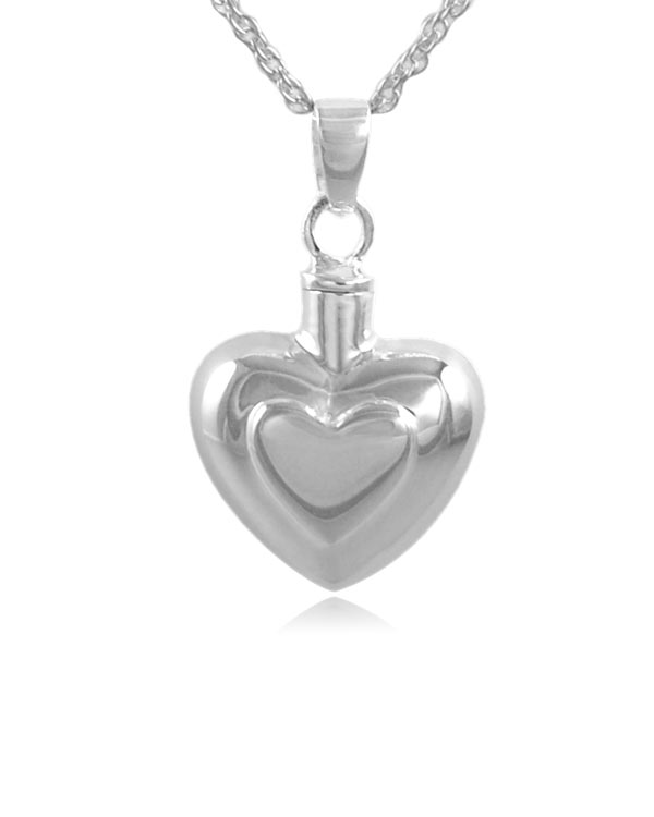 Double Heart Sterling Silver Cremation Jewelry Pendant Necklace