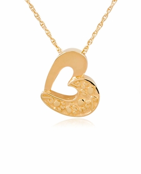 Double Heart with Paw Prints Gold Pet Cremation Jewelry Necklace