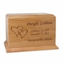 Double Hearts Ambassador Solid Cherry Wood Cremation Urn
