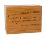 Double Hearts Manchester Solid Cherry Wood Cremation Urn