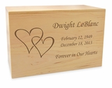 Double Hearts Solid Maple Wood Cremation Urn