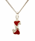 Double Red Heart Sterling Silver Cremation Jewelry Necklace
