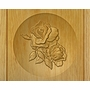 Double Rose Relief Carved Engraved Wood Cremation Urn