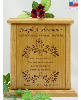 Dove And Vines With Poem Engraved Wood Cremation Urn