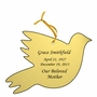 Dove Double-Sided Memorial Ornament - Engraved - Gold