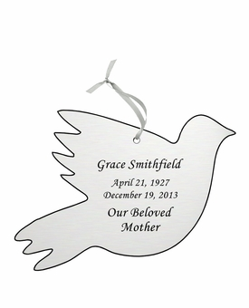 Dove Double-Sided Memorial Ornament - Engraved - Silver