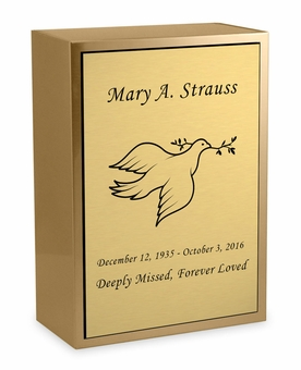 Dove Sheet Bronze Inset Snap-Top Niche Cremation Urn with Engraved Plate
