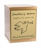Dove Sheet Bronze Overlap Top Cremation Urn with Engraved Plate