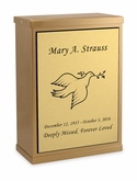 Dove Sheet Bronze Overlap Top Niche Cremation Urn with Engraved Plate