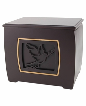 Dove with Olive Branch Modern Companion Wood Cremation Urn