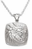 Dragon Cushion Sterling Silver Cremation Jewelry Pendant Necklace