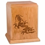 Dragon Natural Cherry Wood Newport Laser Carved Cremation Urn