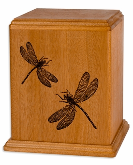 Dragonflies Mahogany Wood Newport Laser Carved Cremation Urn