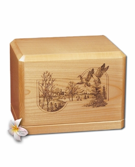 Ducks in Flight Classic Maple Wood Cremation Urn