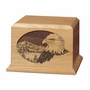 Eagle and Mountains Cherry Wood Cremation Urn