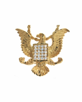 Eagle Badge Cremation Jewelry in 14k Gold Plated Sterling Silver