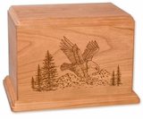 Eagle Cherry Wood Newport Laser Carved Cremation Urn