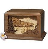 Eagle Dimensional Heirloom Walnut Wood Cremation Urn
