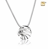 Eagle Rhodium Plated Sterling Silver Cremation Jewelry Pendant Necklace