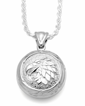 Eagle Round Sterling Silver Cremation Jewelry Pendant Necklace