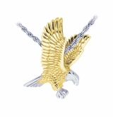 Eagle Sterling Silver with Gold Cremation Jewelry Pendant Necklace
