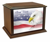 Eagle with Flag Eternal Reflections Wood Cremation Urn - 3 Sizes