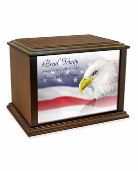 Eagle with Flag Eternal Reflections Wood Cremation Urn - 4 Sizes