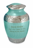 Elegant Baby Blue Fleur-de-Lis Medium Brass Cremation Urn