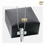 Elegant Cross Two Tone Rhodium Plated Sterling Silver Cremation Jewelry Pendant Necklace