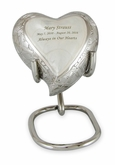 Elegant White Fleur-de-Lis Keepsake Heart Brass Cremation Urn