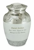 Elegant White Fleur-de-Lis Medium Brass Cremation Urn