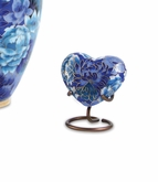 Elite Floral Garden Blue Cloisonne Heart Brass Keepsake Cremation Urn