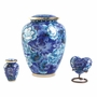Elite Floral Garden Blue Cloisonne Brass Keepsake Cremation Urn
